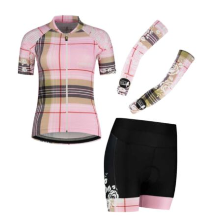 Canary Hill Tartan Combo.  Cycling jersey and shorts at favourable setprice.  Tartan design in soft pink and camel.