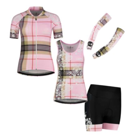 Canary Hill Tartan women's cycling jersey, sleeveless cycling top and shorts at favourable setprice
